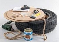 Як зробити пуф з покришки фанери та мотузки